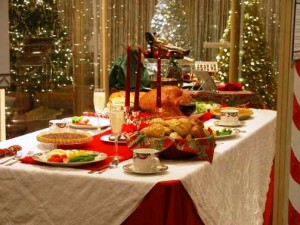 table, christmas, food, dogs